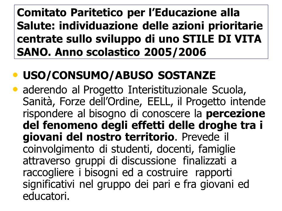 Comitato Paritetico per l'Educazione alla Salute: individuazione delle azioni prioritarie centrate sullo sviluppo di uno STILE DI VITA SANO. Anno scolastico 2005/2006