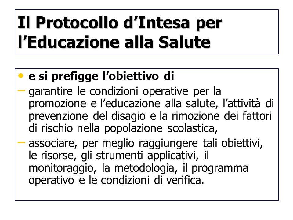 Il Protocollo d'Intesa per l'Educazione alla Salute