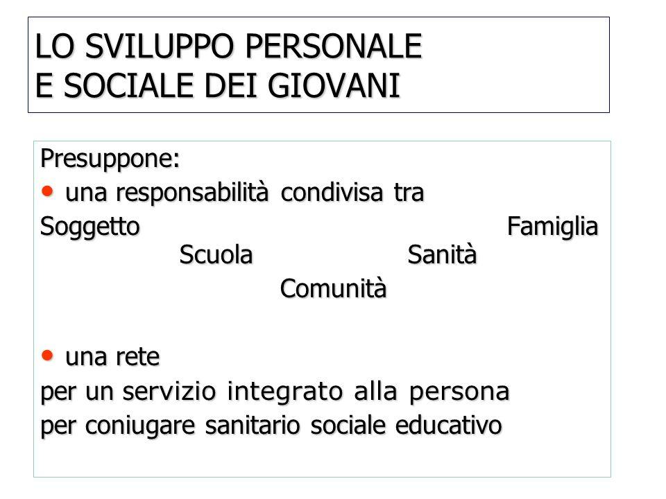 LO SVILUPPO PERSONALE E SOCIALE DEI GIOVANI