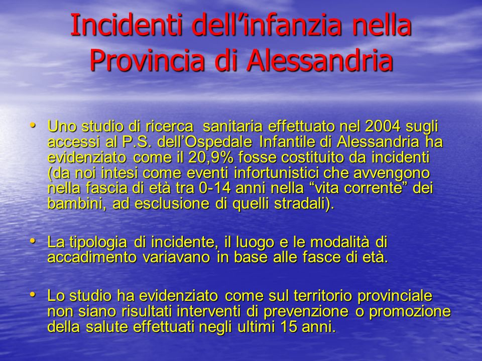 Incidenti dell'infanzia nella Provincia di Alessandria