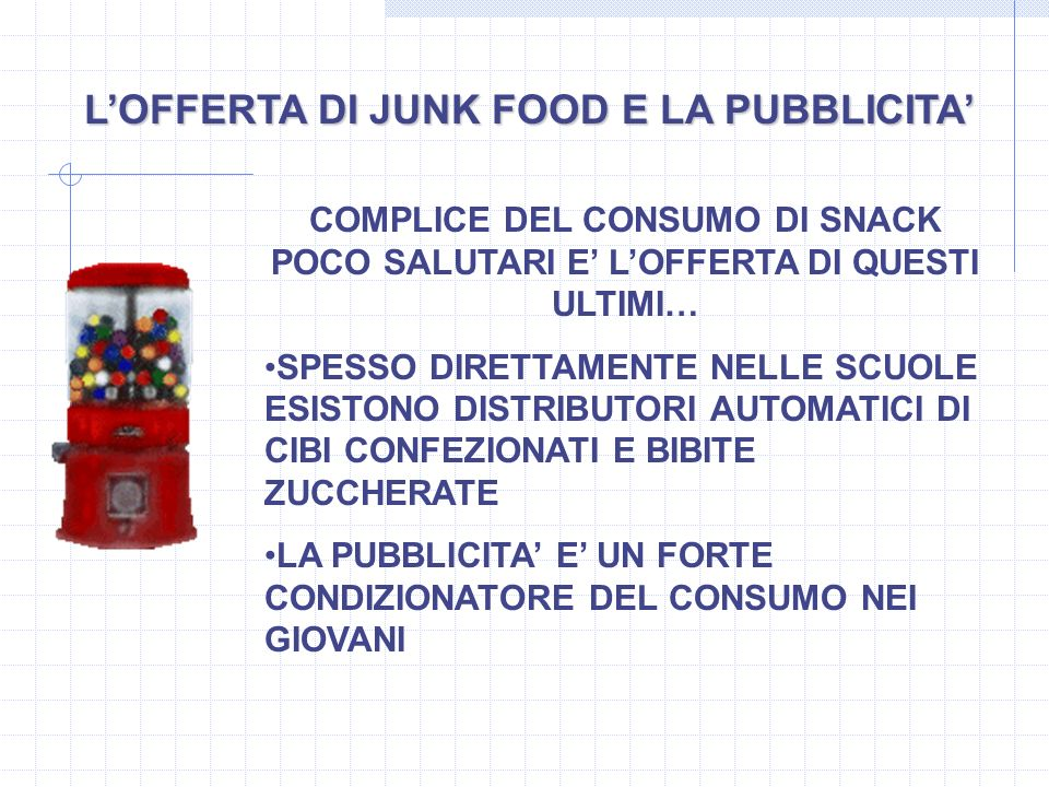 L'OFFERTA DI JUNK FOOD E LA PUBBLICITA'