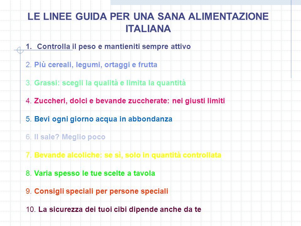 LE LINEE GUIDA PER UNA SANA ALIMENTAZIONE ITALIANA