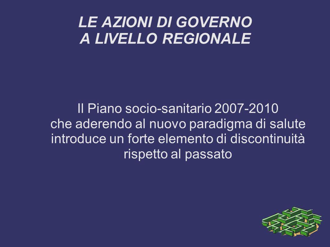 LE AZIONI DI GOVERNO A LIVELLO REGIONALE