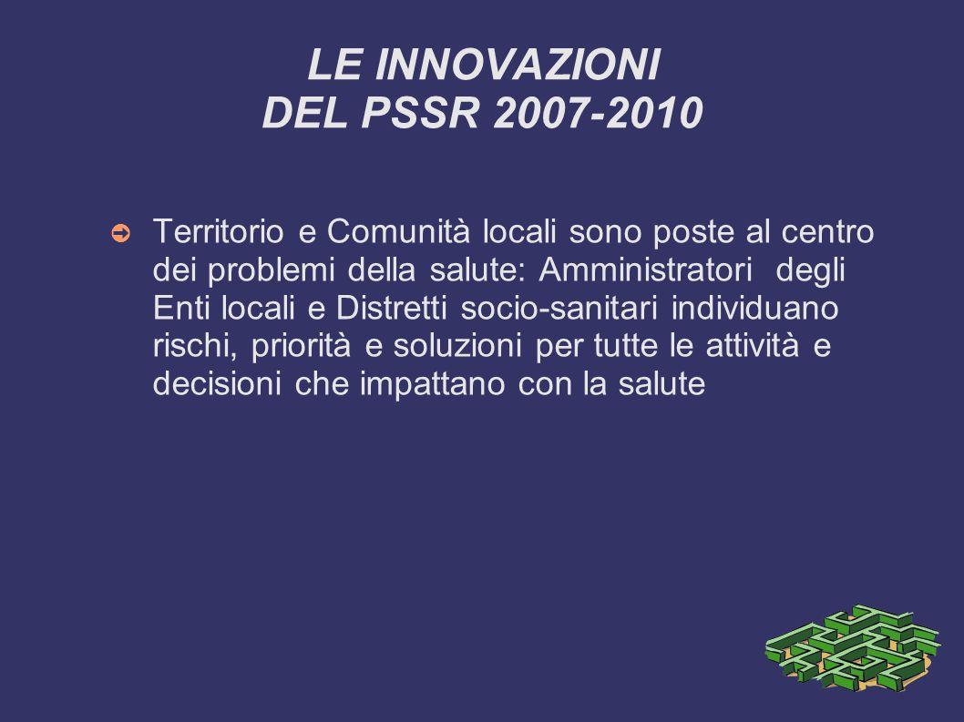 LE INNOVAZIONI DEL PSSR 2007-2010