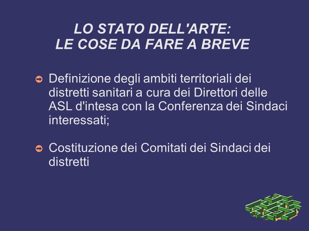 LO STATO DELL ARTE: LE COSE DA FARE A BREVE