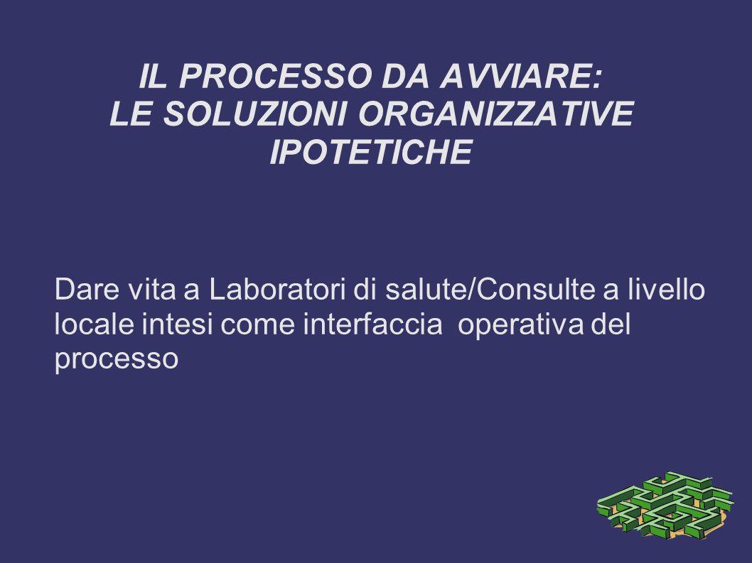 IL PROCESSO DA AVVIARE: LE SOLUZIONI ORGANIZZATIVE IPOTETICHE