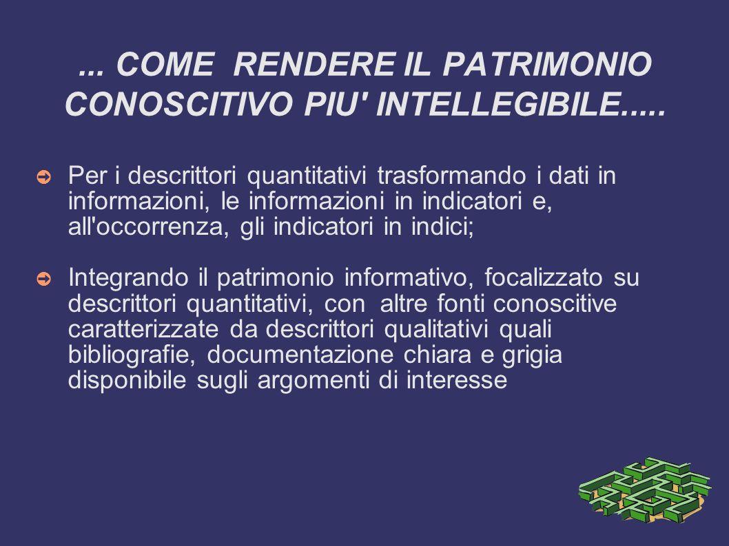 ... COME RENDERE IL PATRIMONIO CONOSCITIVO PIU INTELLEGIBILE.....