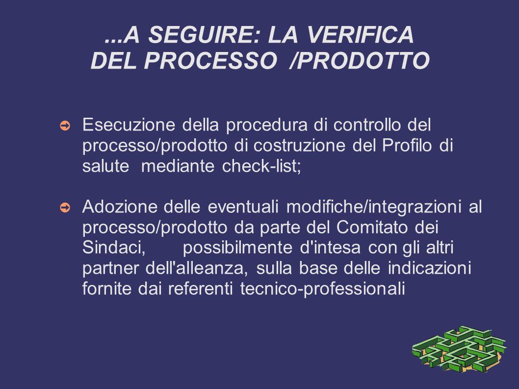 ...A SEGUIRE: LA VERIFICA DEL PROCESSO /PRODOTTO
