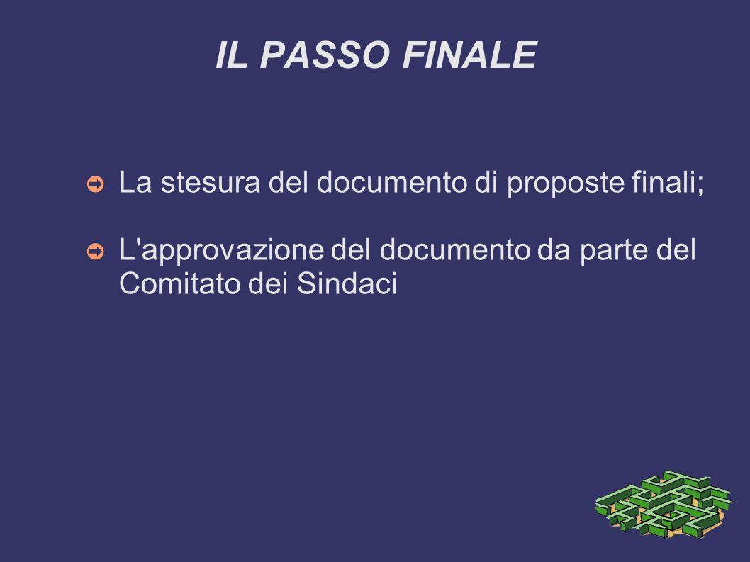 IL PASSO FINALE La stesura del documento di proposte finali;