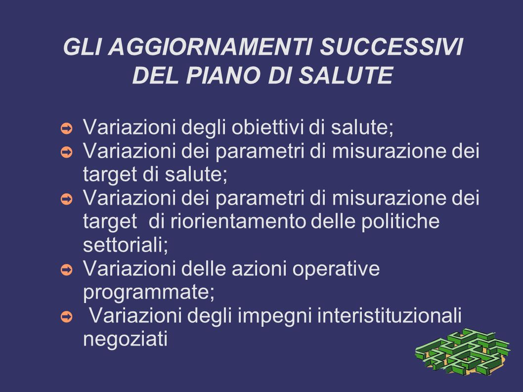 GLI AGGIORNAMENTI SUCCESSIVI DEL PIANO DI SALUTE