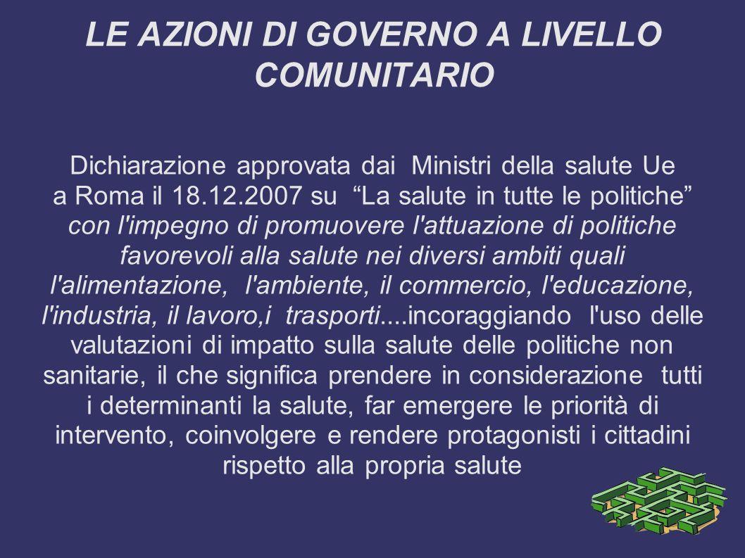 LE AZIONI DI GOVERNO A LIVELLO COMUNITARIO