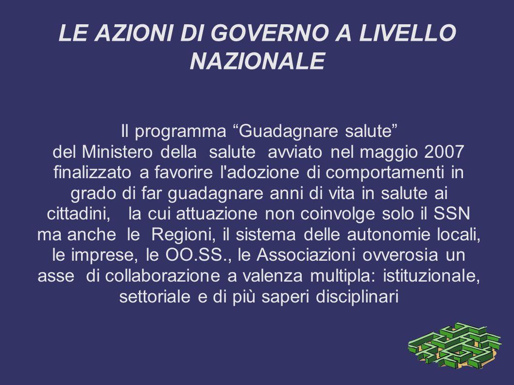 LE AZIONI DI GOVERNO A LIVELLO NAZIONALE