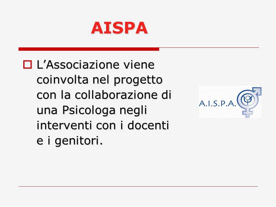 AISPA L'Associazione viene coinvolta nel progetto con la collaborazione di una Psicologa negli interventi con i docenti e i genitori.