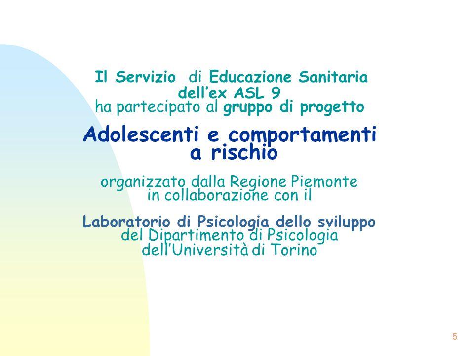 Il Servizio di Educazione Sanitaria dell'ex ASL 9 ha partecipato al gruppo di progetto Adolescenti e comportamenti a rischio organizzato dalla Regione Piemonte in collaborazione con il Laboratorio di Psicologia dello sviluppo del Dipartimento di Psicologia dell'Università di Torino