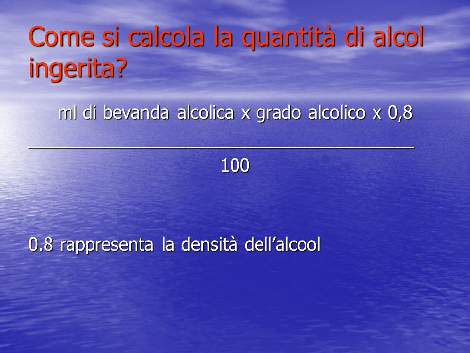 Come si calcola la quantità di alcol ingerita