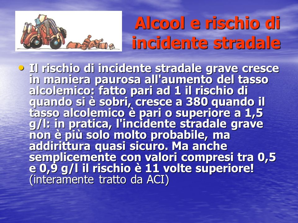 Alcool e rischio di incidente stradale