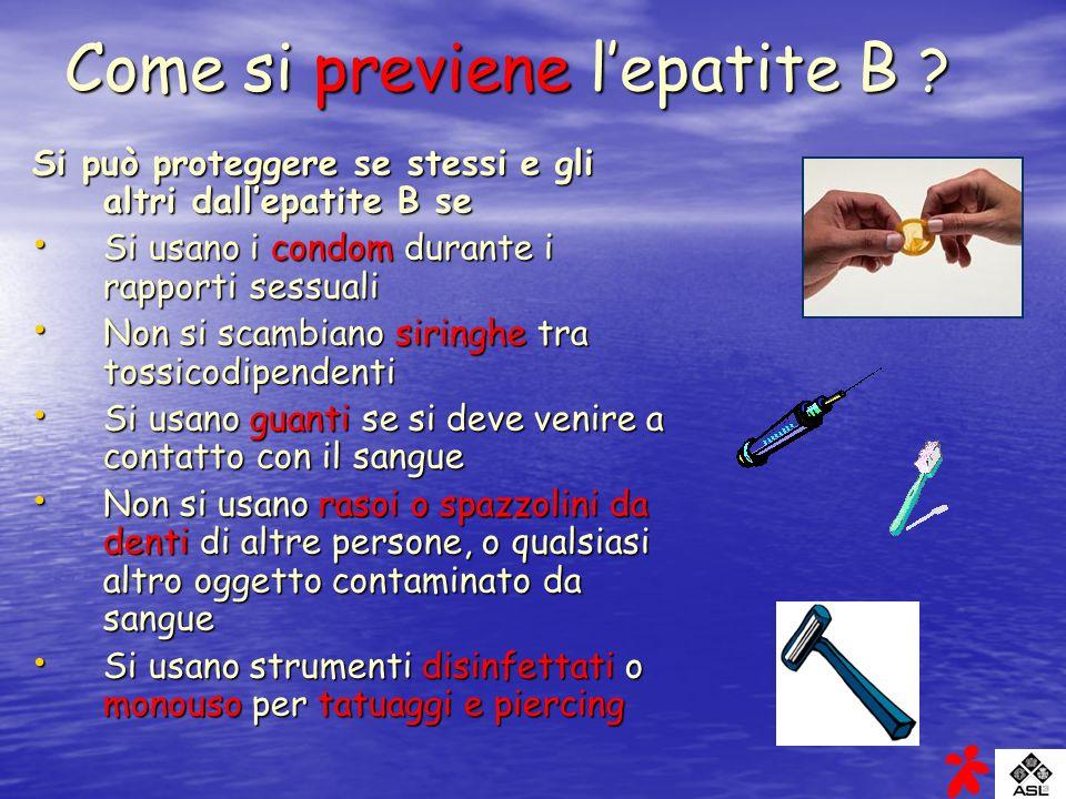 Come si previene l'epatite B
