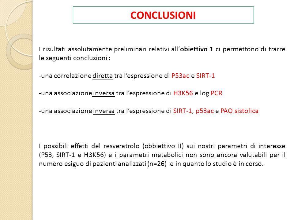 CONCLUSIONI I risultati assolutamente preliminari relativi all'obiettivo 1 ci permettono di trarre le seguenti conclusioni :