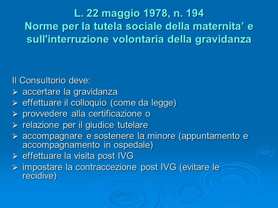 L. 22 maggio 1978, n. 194 Norme per la tutela sociale della maternita' e sull interruzione volontaria della gravidanza