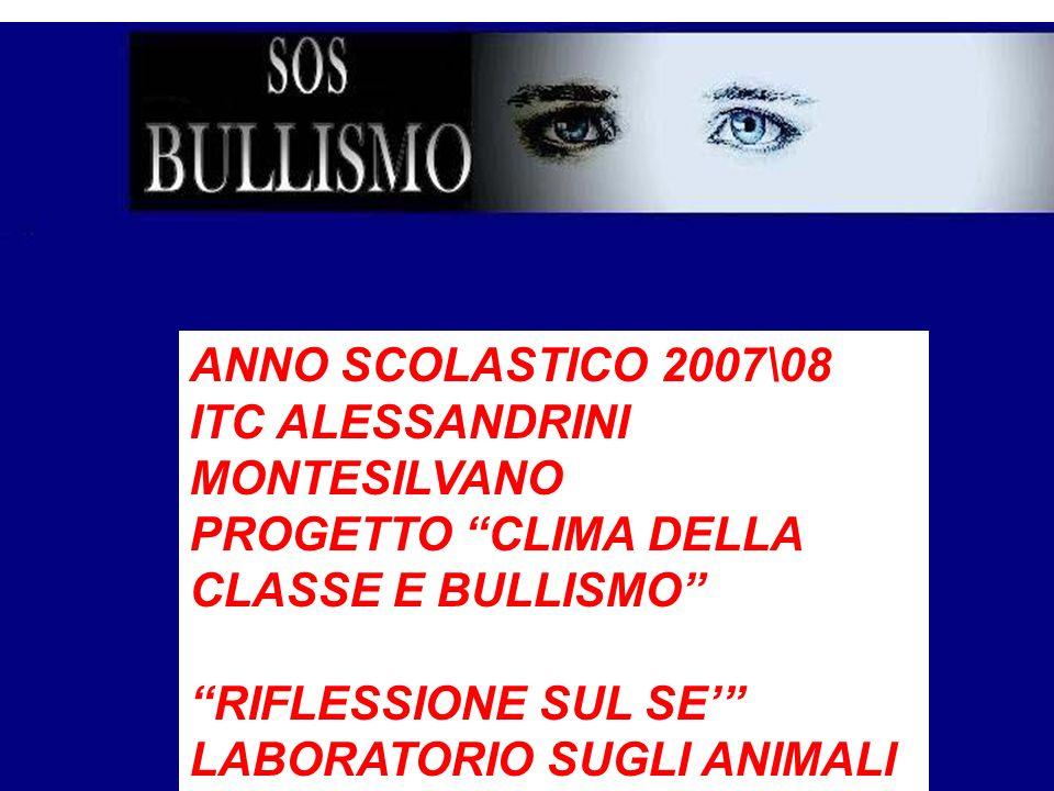 ANNO SCOLASTICO 2007\08 ITC ALESSANDRINI. MONTESILVANO. PROGETTO CLIMA DELLA CLASSE E BULLISMO RIFLESSIONE SUL SE'