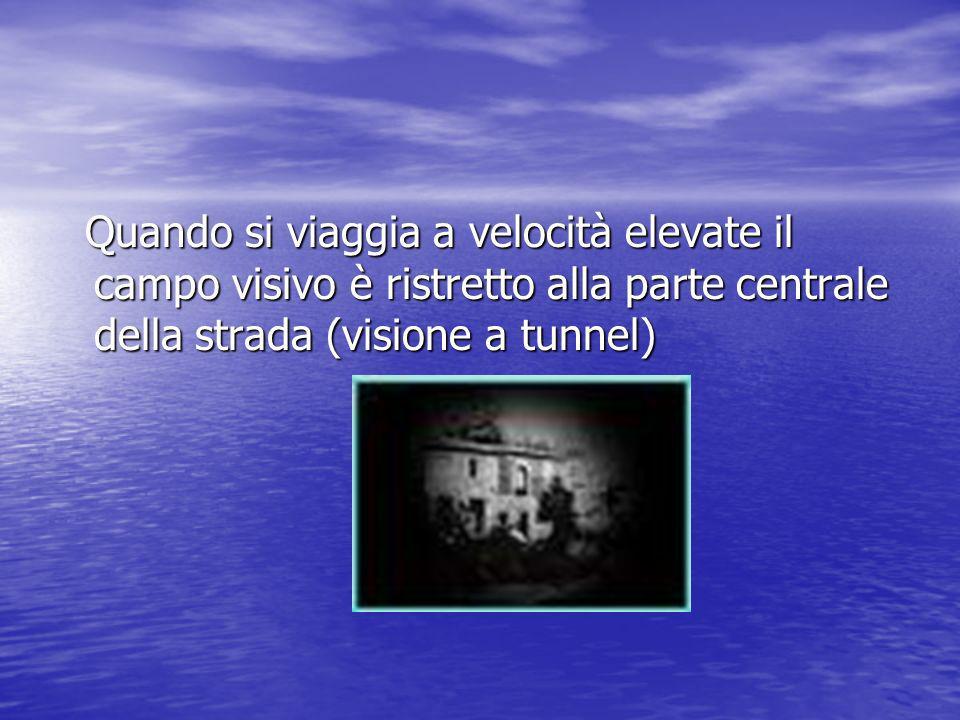 Quando si viaggia a velocità elevate il campo visivo è ristretto alla parte centrale della strada (visione a tunnel)