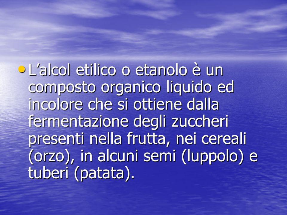 L'alcol etilico o etanolo è un composto organico liquido ed incolore che si ottiene dalla fermentazione degli zuccheri presenti nella frutta, nei cereali (orzo), in alcuni semi (luppolo) e tuberi (patata).