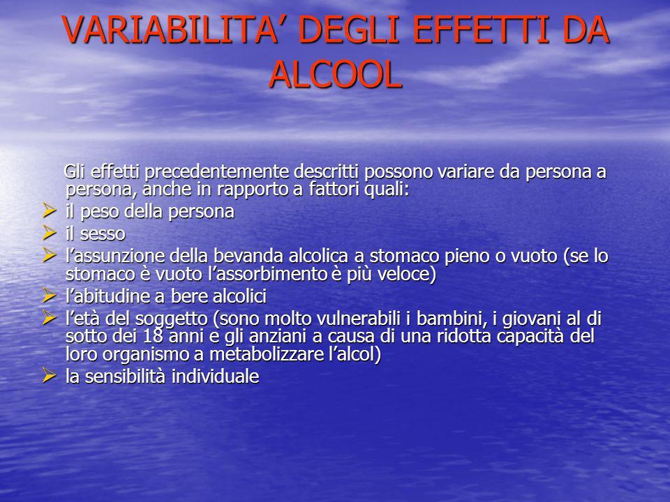 VARIABILITA' DEGLI EFFETTI DA ALCOOL