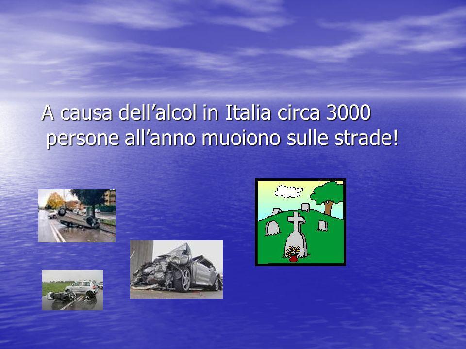 A causa dell'alcol in Italia circa 3000 persone all'anno muoiono sulle strade!