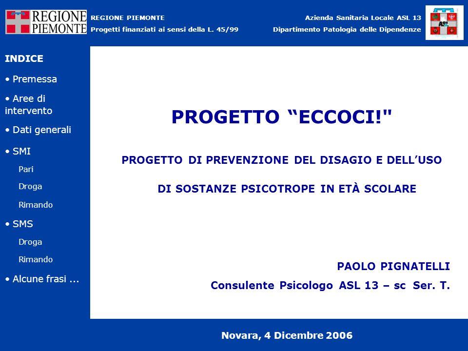 PROGETTO ECCOCI! PROGETTO DI PREVENZIONE DEL DISAGIO E DELL'USO DI SOSTANZE PSICOTROPE IN ETÀ SCOLARE.