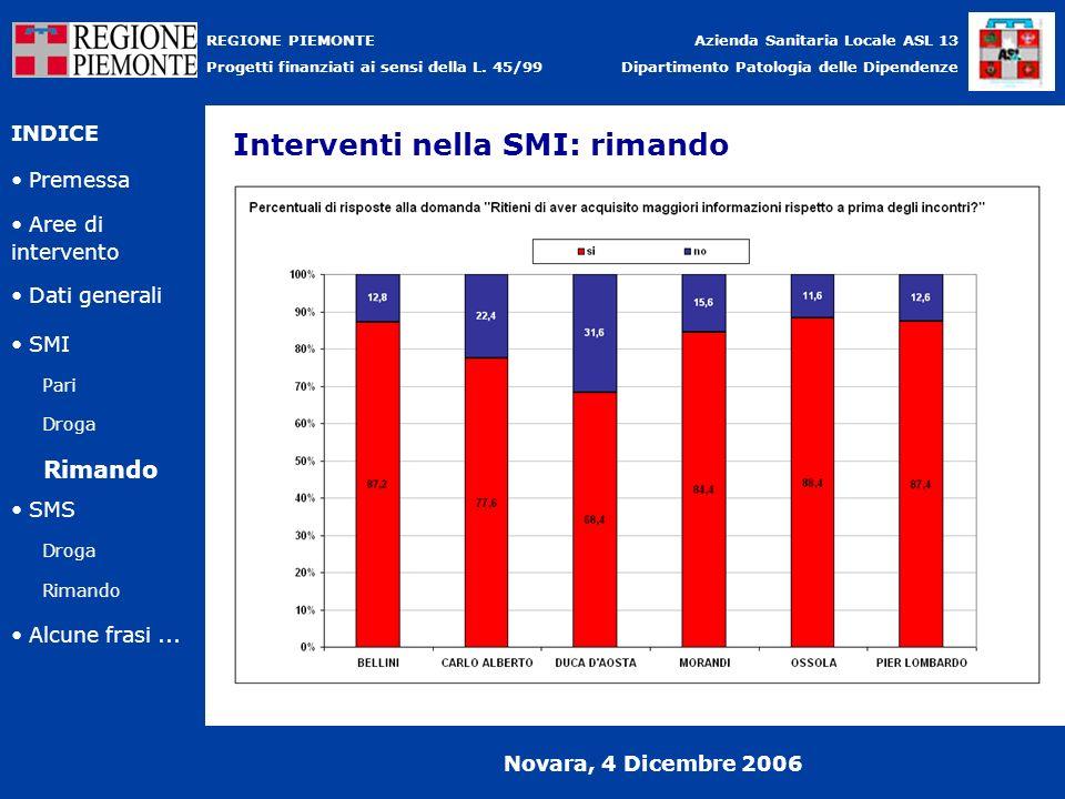 Interventi nella SMI: rimando