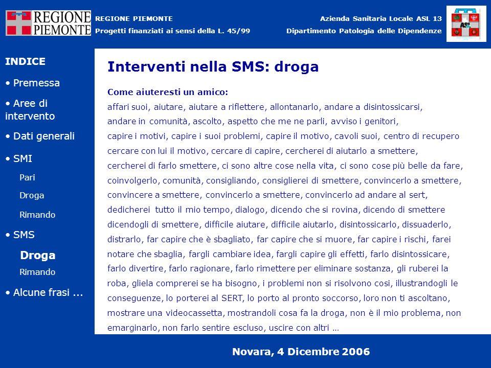 Interventi nella SMS: droga