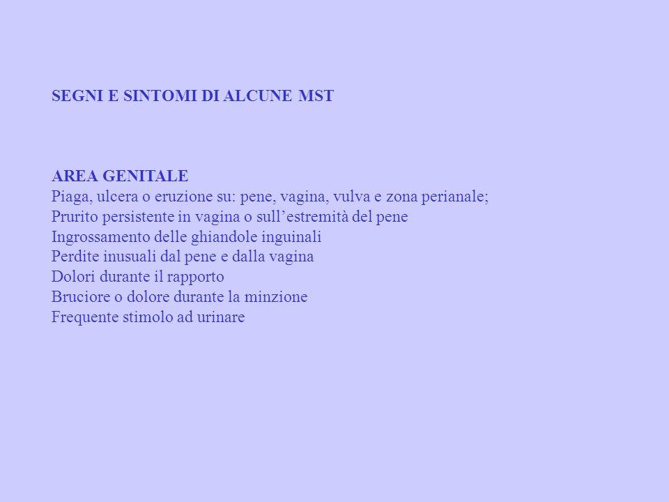 SEGNI E SINTOMI DI ALCUNE MST