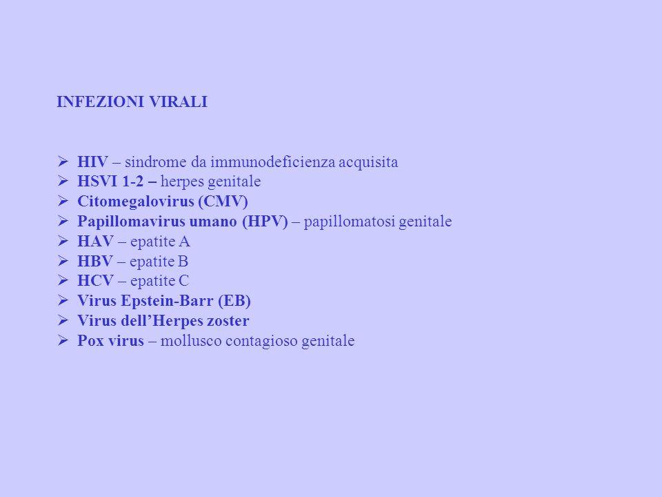 INFEZIONI VIRALI Ø HIV – sindrome da immunodeficienza acquisita Ø HSVI 1-2 – herpes genitale Ø Citomegalovirus (CMV) Ø Papillomavirus umano (HPV) – papillomatosi genitale Ø HAV – epatite A Ø HBV – epatite B Ø HCV – epatite C Ø Virus Epstein-Barr (EB) Ø Virus dell'Herpes zoster Ø Pox virus – mollusco contagioso genitale