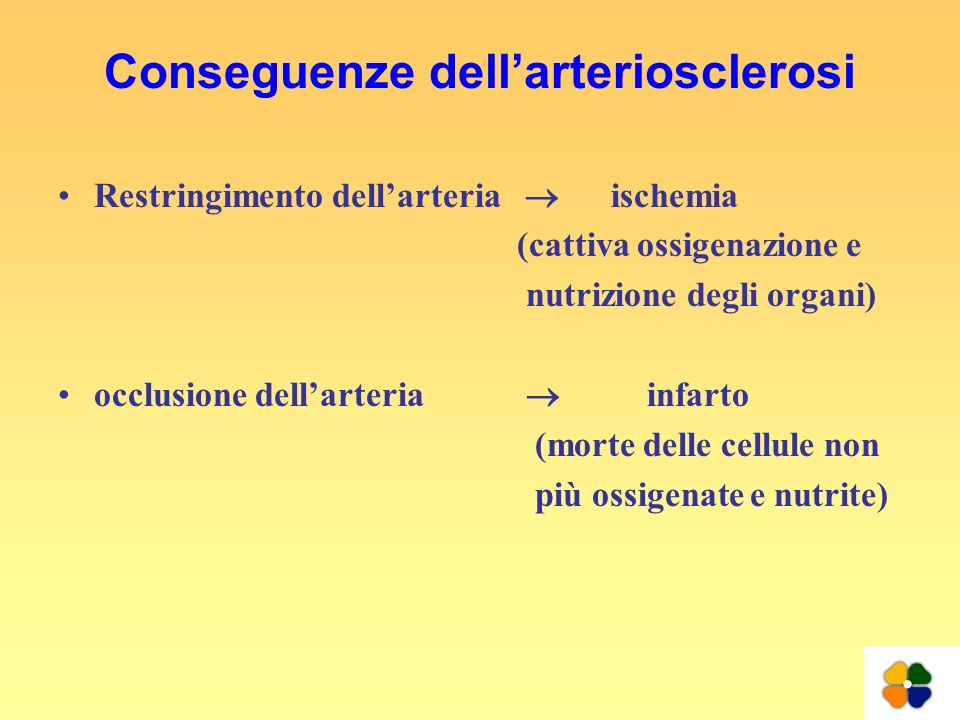 Conseguenze dell'arteriosclerosi