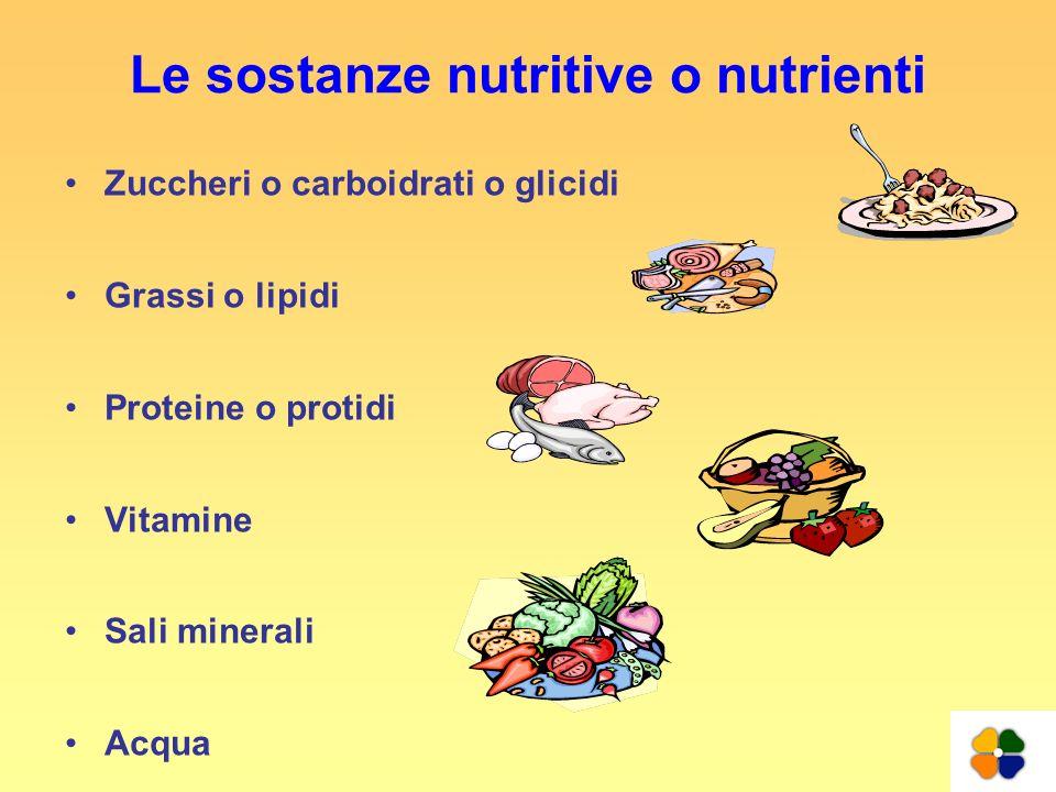 Le sostanze nutritive o nutrienti