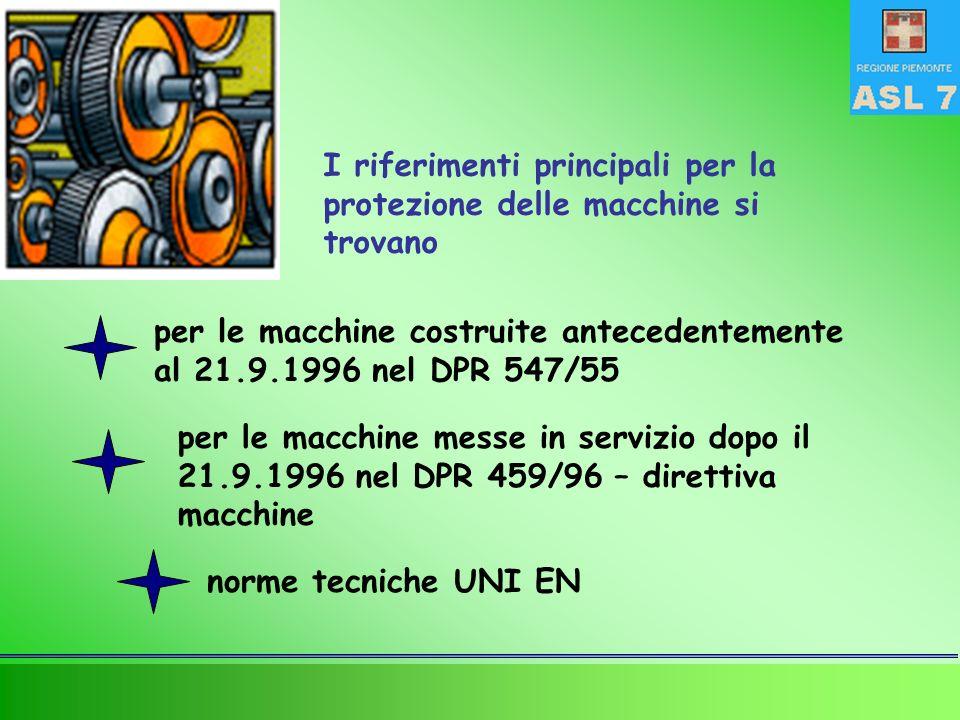 I riferimenti principali per la protezione delle macchine si trovano