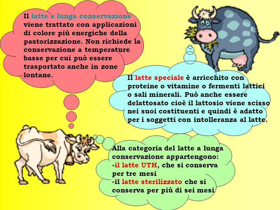 Il latte a lunga conservazione viene trattato con applicazioni di colore più energiche della pastorizzazione. Non richiede la conservazione a temperature basse per cui può essere trasportato anche in zone lontane.