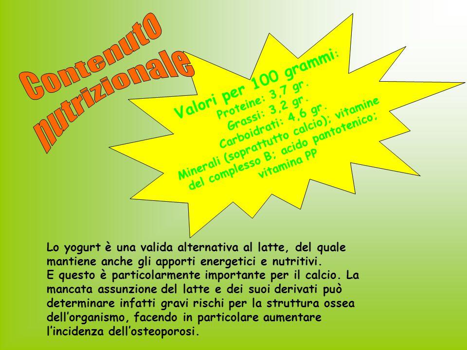 Contenuto nutrizionale Valori per 100 grammi: Proteine: 3,7 gr.
