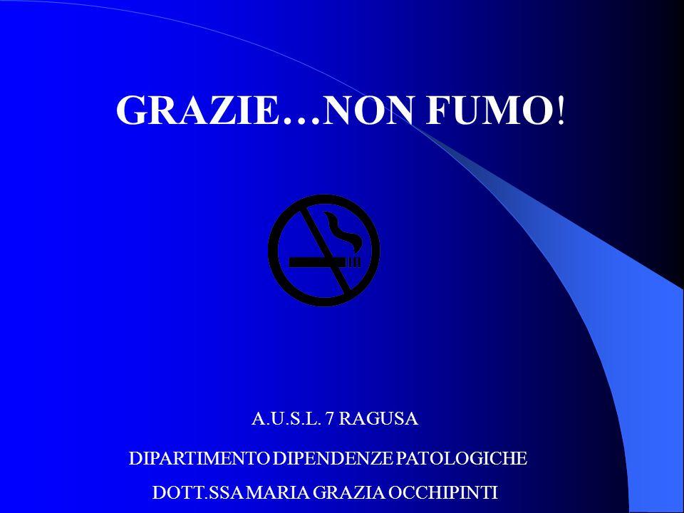 GRAZIE…NON FUMO! A.U.S.L. 7 RAGUSA DIPARTIMENTO DIPENDENZE PATOLOGICHE