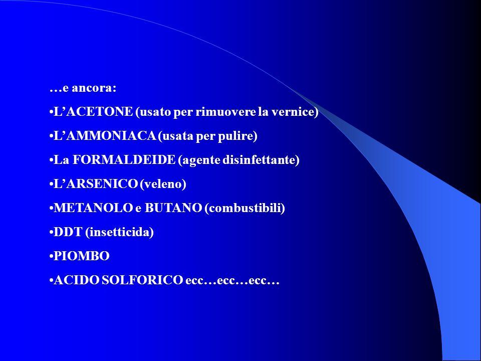 …e ancora: L'ACETONE (usato per rimuovere la vernice) L'AMMONIACA (usata per pulire) La FORMALDEIDE (agente disinfettante)