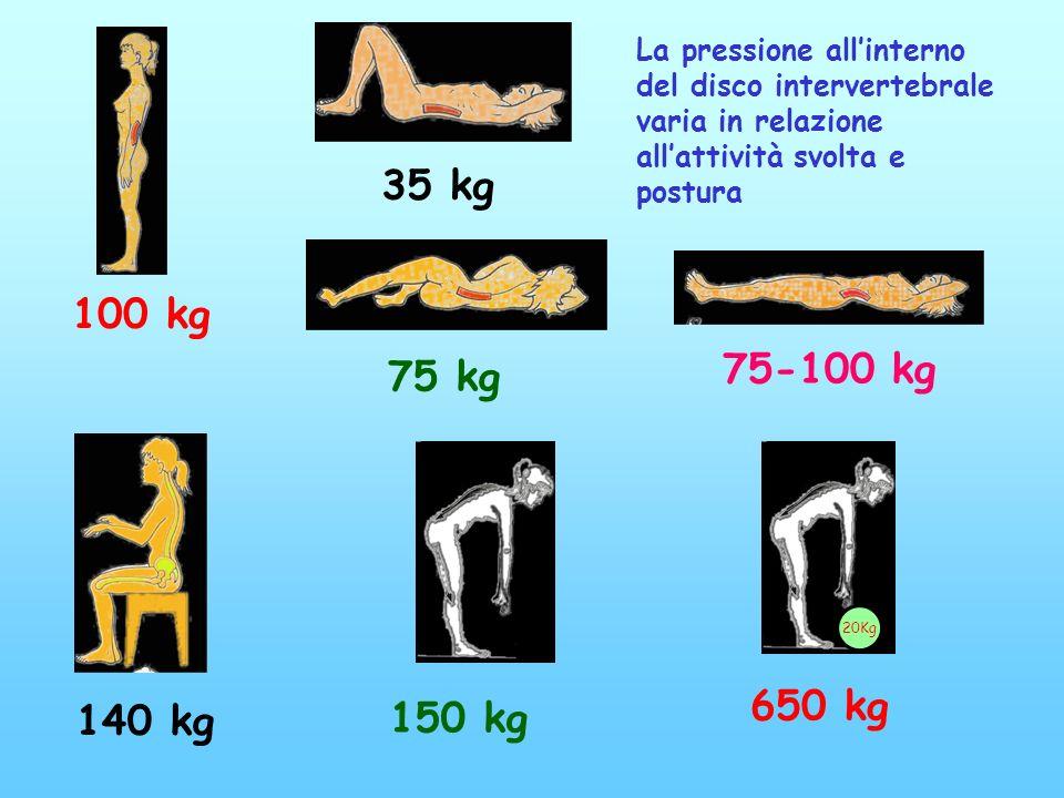 La pressione all'interno del disco intervertebrale varia in relazione all'attività svolta e postura