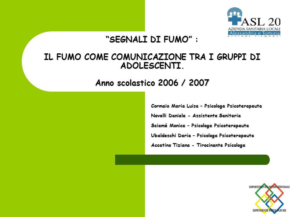 SEGNALI DI FUMO : IL FUMO COME COMUNICAZIONE TRA I GRUPPI DI ADOLESCENTI. Anno scolastico 2006 / 2007