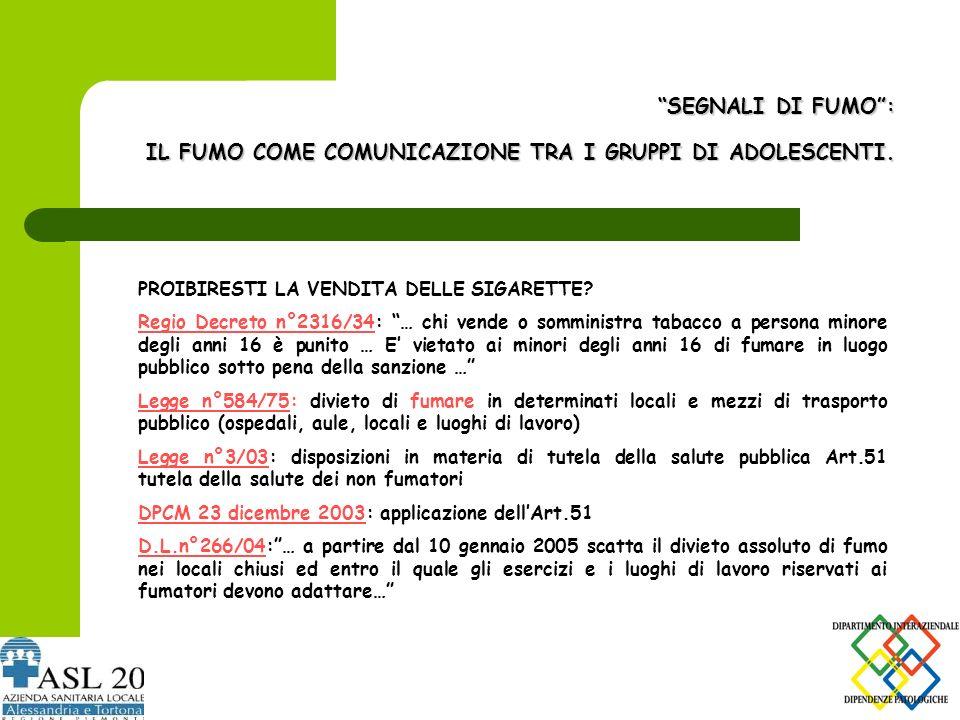SEGNALI DI FUMO : IL FUMO COME COMUNICAZIONE TRA I GRUPPI DI ADOLESCENTI.