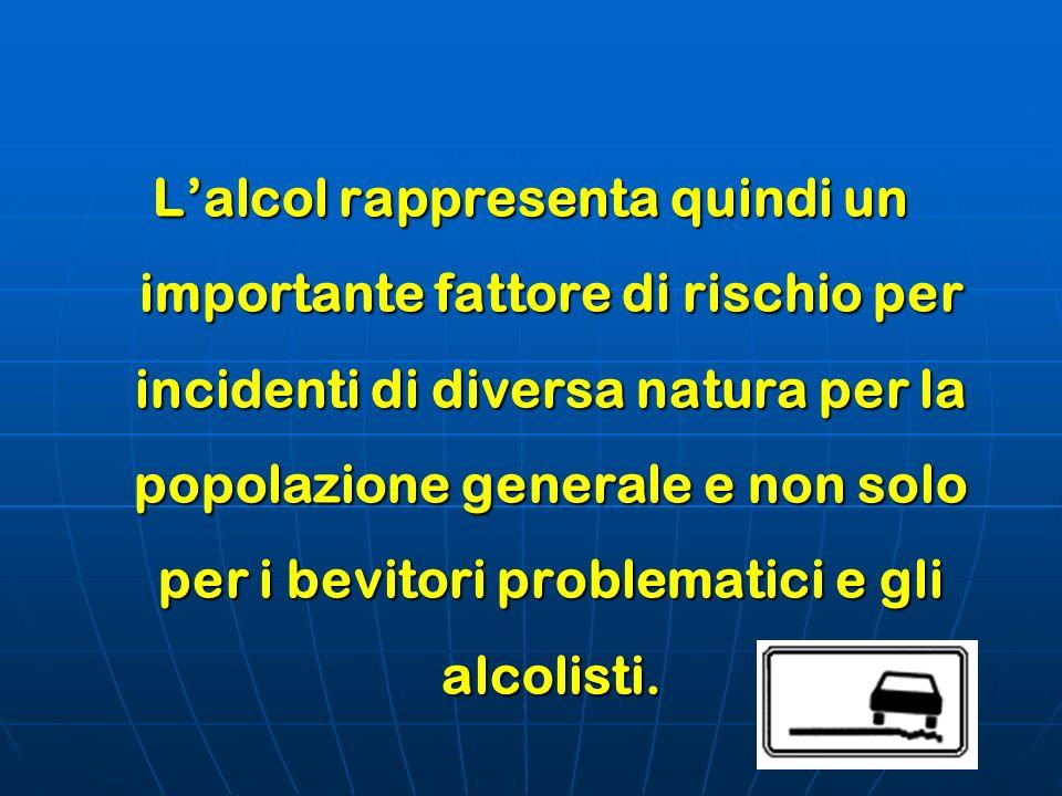 L'alcol rappresenta quindi un importante fattore di rischio per incidenti di diversa natura per la popolazione generale e non solo per i bevitori problematici e gli alcolisti.