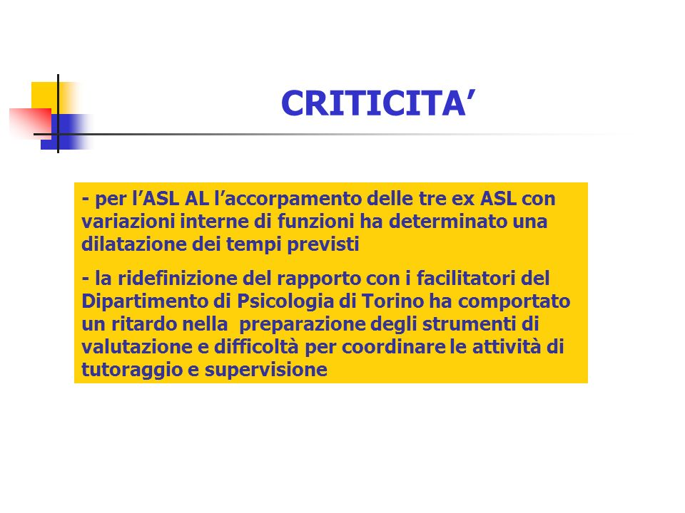 CRITICITA' - per l'ASL AL l'accorpamento delle tre ex ASL con variazioni interne di funzioni ha determinato una dilatazione dei tempi previsti.