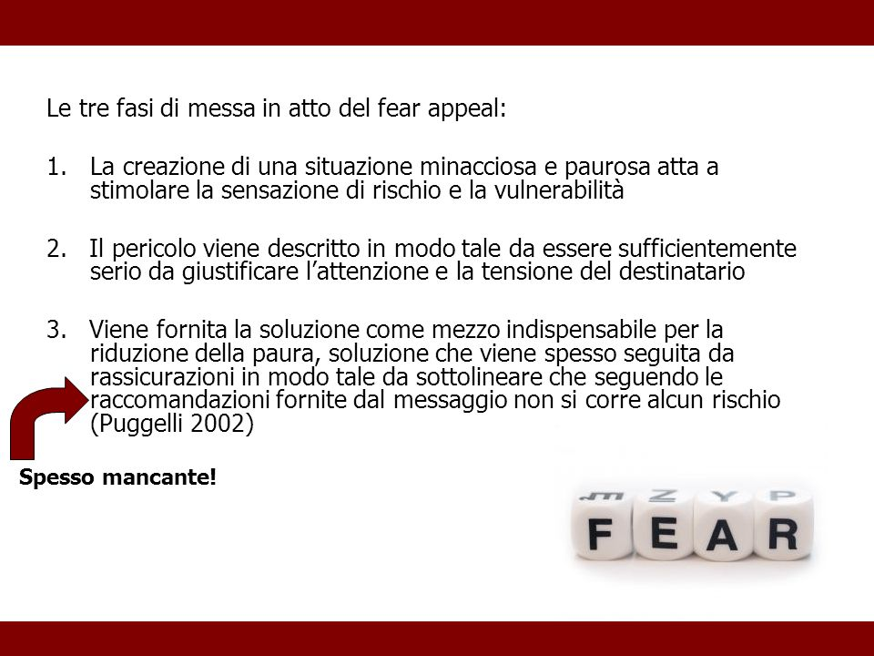 Le tre fasi di messa in atto del fear appeal: