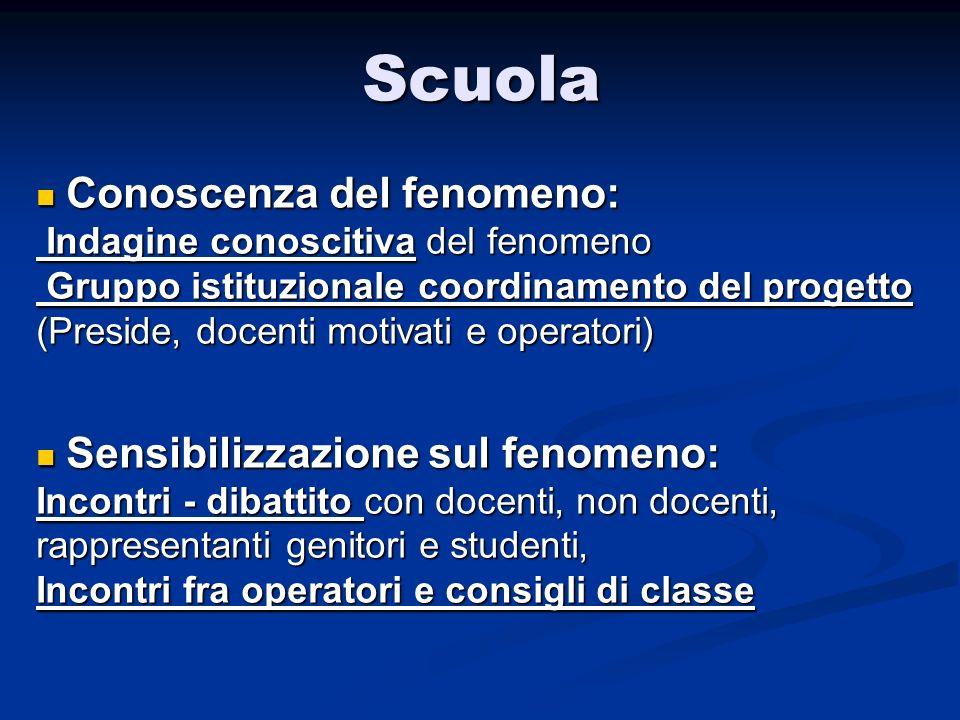 Scuola Conoscenza del fenomeno: Indagine conoscitiva del fenomeno