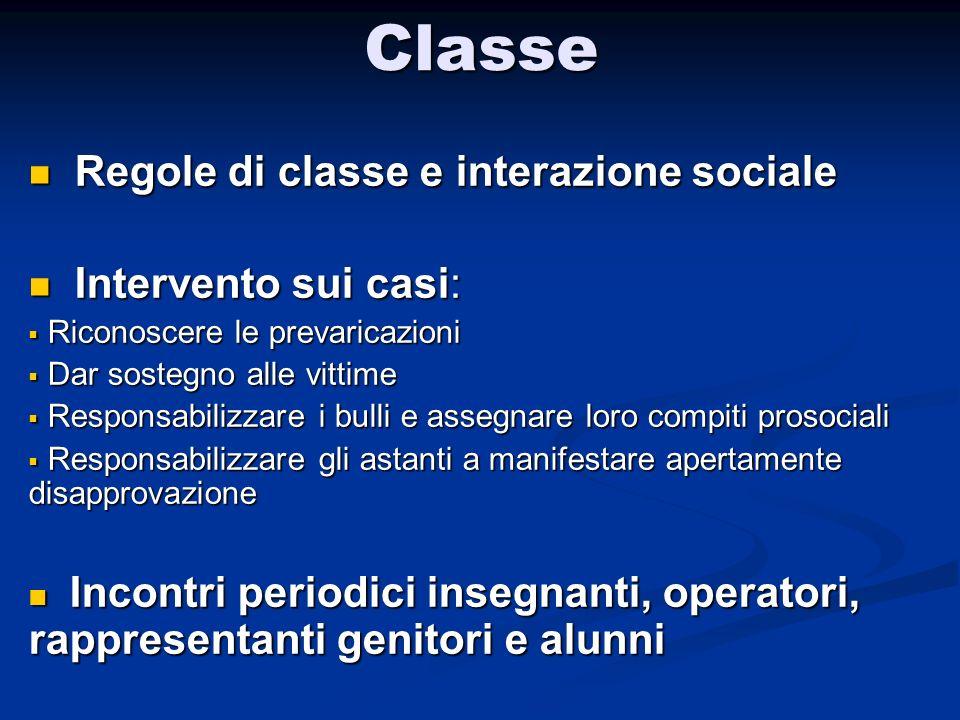 Classe Regole di classe e interazione sociale Intervento sui casi: