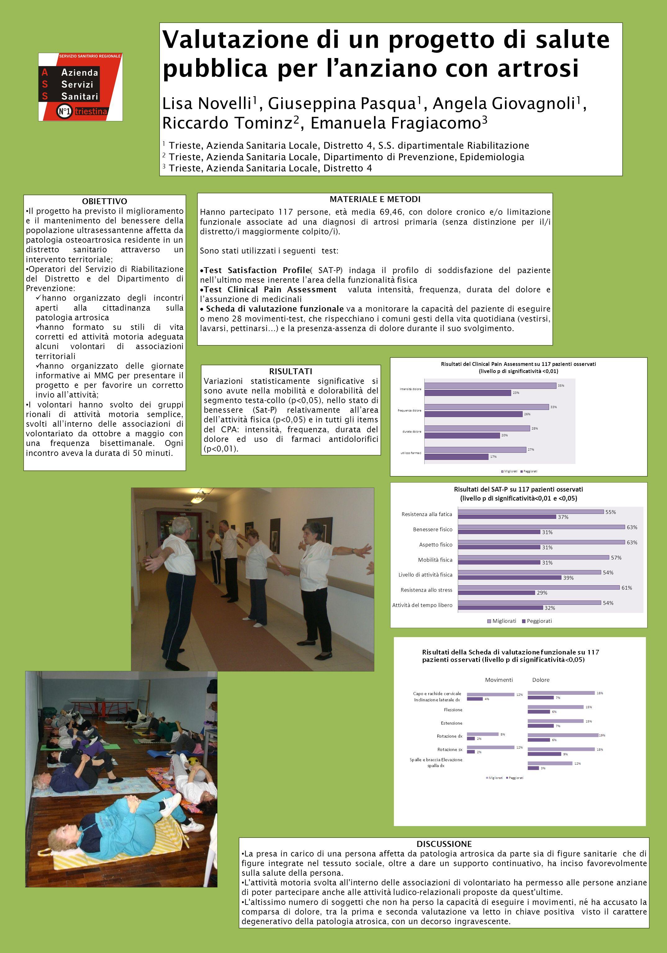 Valutazione di un progetto di salute pubblica per l'anziano con artrosi