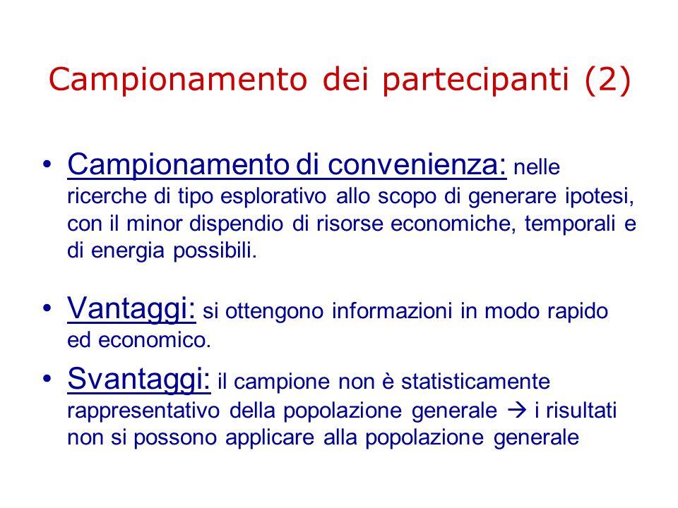 Campionamento dei partecipanti (2)